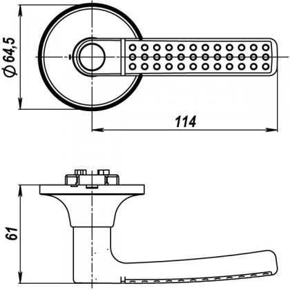 Ручка защелка 6026 SN-B (фик.) PUNTO